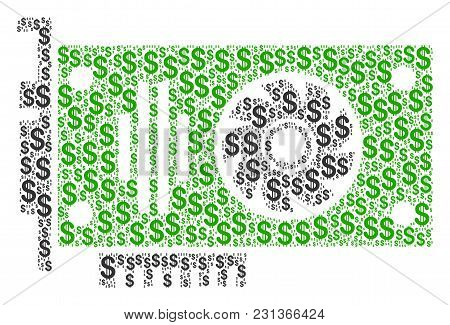 Video Gpu Card Composition Of American Dollars. Vector Dollar Symbols Are Organized Into Video Gpu C