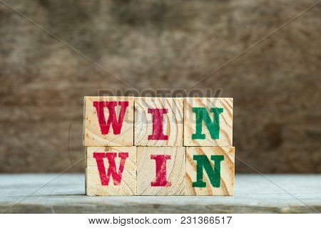 Letter Block In Word Win Win On Wood Background