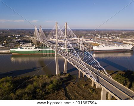 Aerial view of Talmadge bridge, a suspension bridge over the Savannah River in Georgia.