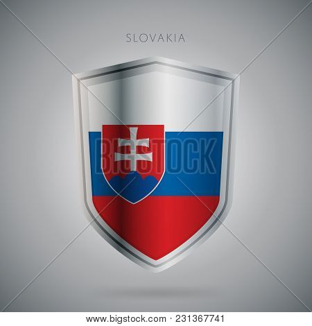 Flags Europe Vector Icon. Slovakia Flag, Isolated. Modern Design. National Country Flag. Country Of