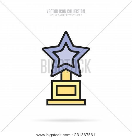 Awar Icon Vector Isolated On White Background. Flat Design Style. Trophy Vector.
