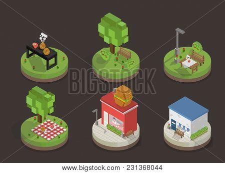 Illustration set of pixelated park and city models