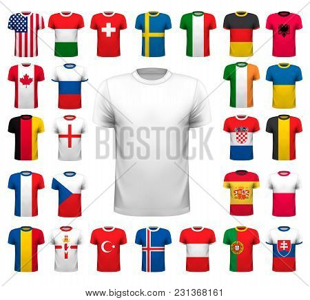 Collection Of Various Soccer Jerseys. The T-shirt Is Transparent And Can Be Used As A Template With
