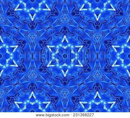 Abstract Israeli Ornate Blue White Pattern Yom Ha'atzmaut Stars Of David