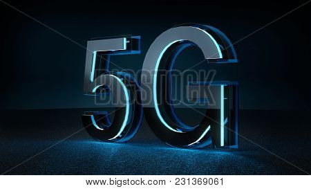 3D Render 5G futuristic font with blue neon light . Mobile network speed communication technology co