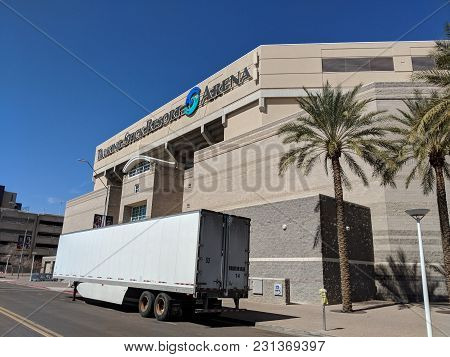 Phoenix, Az, Usa - March 5, 2018: Talking Stick Resort Arena With Parked Nearby Trailer Along Jackso