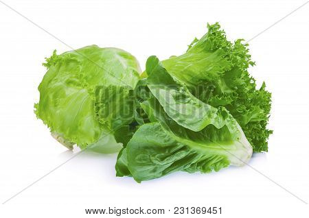 Fresh Baby Cos, Frillice And Iceberg Green Lettuce Isolated On White Background