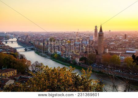 Beautiful Sunset Aerial View Of Verona
