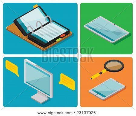 Analytics Of Concept, Research, Results, Performance. Vector Isometric. Business Research. Optimizin