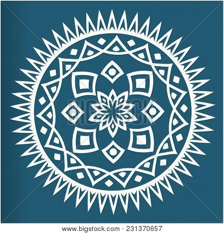 White Mandala Vintage Blue Background Vector Image