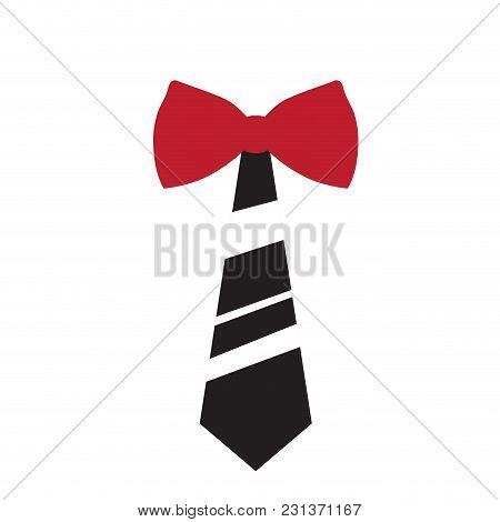 Stiped Necktie With Bowtie Icon. Vector Illustration Design