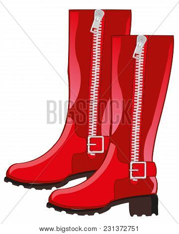 Footwear Feminine Red Boots With Clasp.vector Illustration