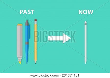 Evolution Of Stationary From Yellow Wooden Pencil Pen Highlight To New Smart Pen Innovation Digital