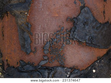 Texture Of Old Shabby Rusty Metal Surface. Cracks, Scrapes And Black Resin Stains.