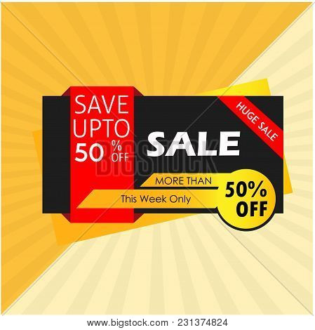 Sale Save Up To 50% Huge Sale More Than This Week Only Vector Image