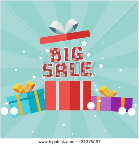 Big Sale Gift Box Background Vector Image