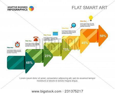 Five Steps Process Chart Slide Template. Business Data. Report, Review, Design. Creative Concept For