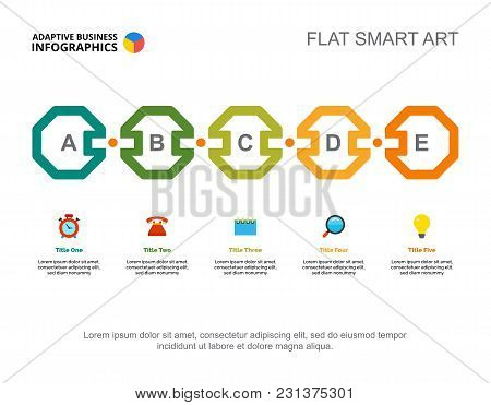 Five Phases Process Chart Slide Template. Business Data. Review, Vision, Design. Creative Concept Fo