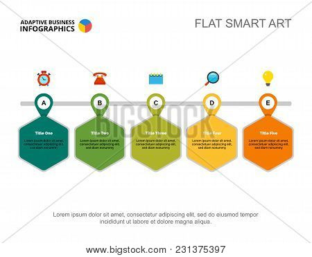 Five Points Process Chart. Business Data. Professional, Step, Design. Creative Concept For Infograph
