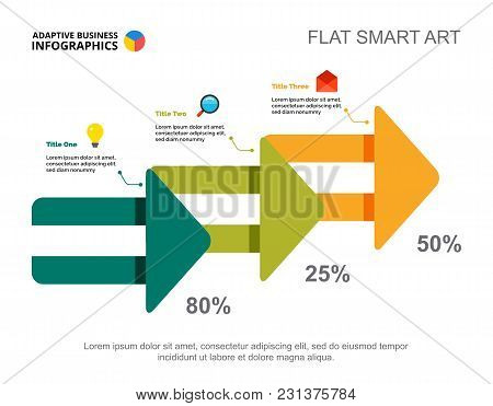 Three Steps Process Chart Slide Template. Business Data. Report, Plan, Design. Creative Concept For