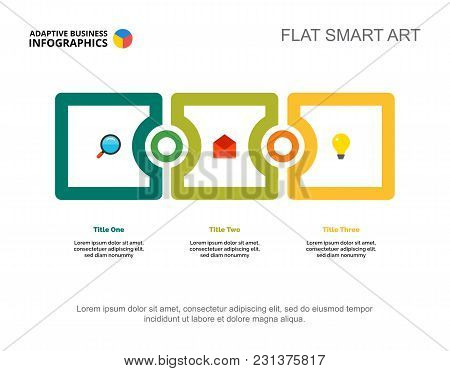 Three Phases Process Chart Slide Template. Business Data. Stage, Plan, Design. Creative Concept For