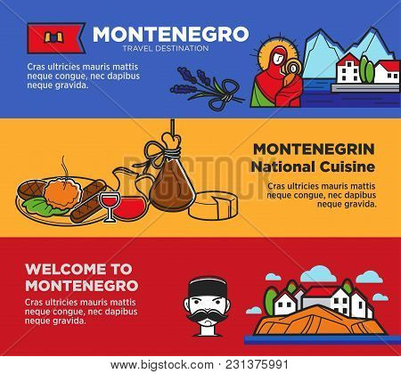 Welcome To Montenegro Posters With Delicious National Cuisine And Natural Attractions. Trip To Europ