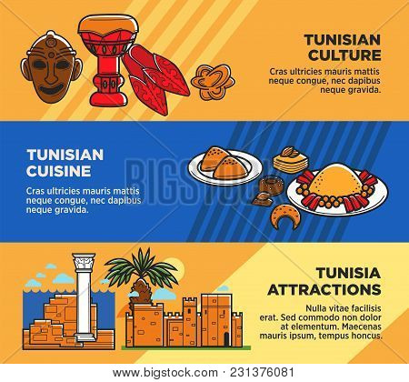 Tunisian Cuisine And Attractions Travel Agency Promo Posters Set. Authentic Culture, Exotic Cuisine