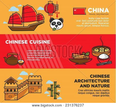Chinese National Architecture And Nature Promotional Posters Set. Journey To China Advertisement Ban