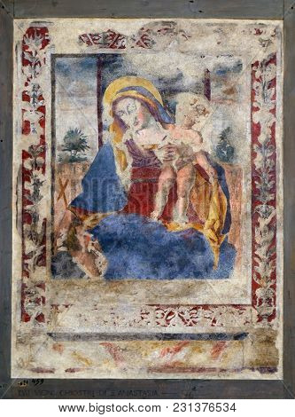 VERONA, ITALY - MAY 27: Madonna with Child, fresco in the church of San Pietro Martire in Verona, Italy, on May 27, 2017.