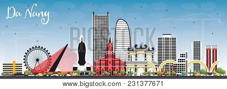 Da Nang Vietnam City Skyline with Color Buildings and Blue Sky. Business Travel and Tourism Concept with Modern Architecture. Da Nang Cityscape with Landmarks.