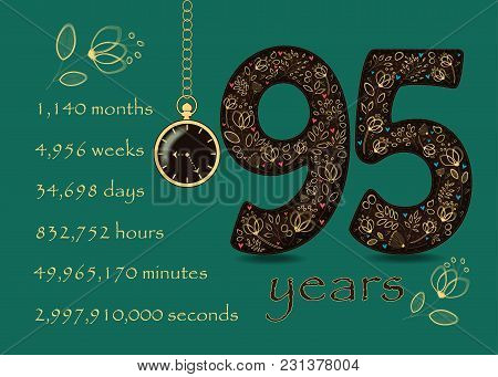 Floral Card. Number Ninety Five And Pocket Watch