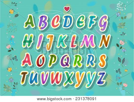 Artistic Alphabet With Encrypted Romantic Message You Are My Darling. Colorful Letters With Painting