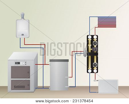 Solid Fuel And Gas Boiler In The Heating System. Vector Illustration. The Hvac Equipment. Hydraulic