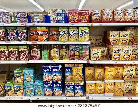 LONDON - MARCH 14, 2018: Breakfast cereal on sale at Sainsbury's supermarket at The O2 Centre, Finchley Road, North London, UK.