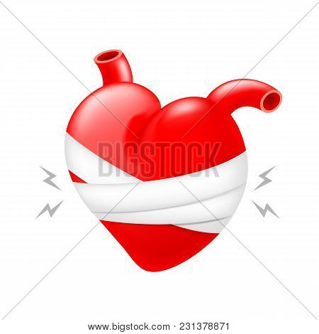Wounded Red Heart And Bandages. Pain Heart, Icon Design. Illustration Isolated On White Background.