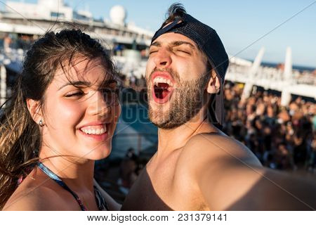 Couple Taking a Selfie on Cruise Ship