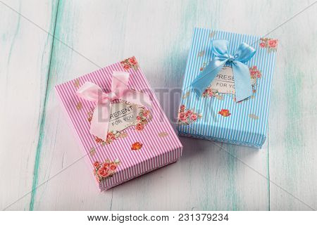 Beautiful Miniature Striped Gift Box With Lettering And Bow