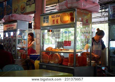 kuching,sarawak,malaysia 9th feb 2017,food court at kuching, sarawak selling variety of food for all races at sarawak