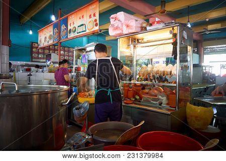 kuching,sarawak,malaysia 9th feb 2017,food court at kuching, sarawak. Selling chicken rice
