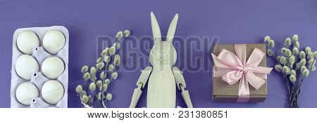 Banner Easter Set Gift Box With Branches Catkins White Egg. The View From The Top Place For Text. Ba