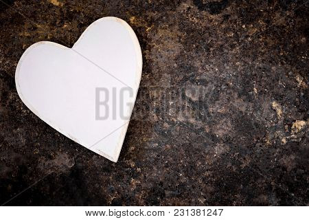Wooden Heart On Dirty Rusty Table, Copyspace