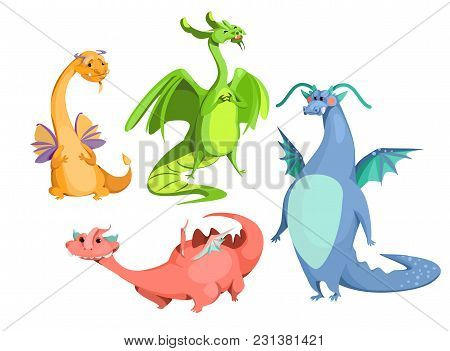 Vector Cartoon Cute Magic Dragons Set. Blue Red Green Orange Color Funny Mythological Creatures, Fai