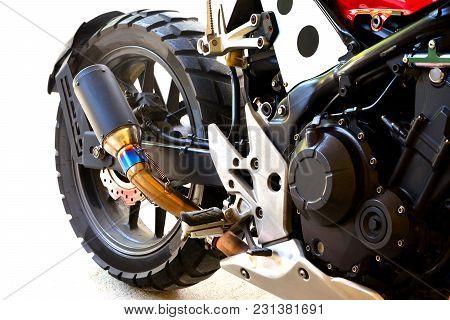 Close Up Of Half Big Bike Motorcycle Modify On White Background