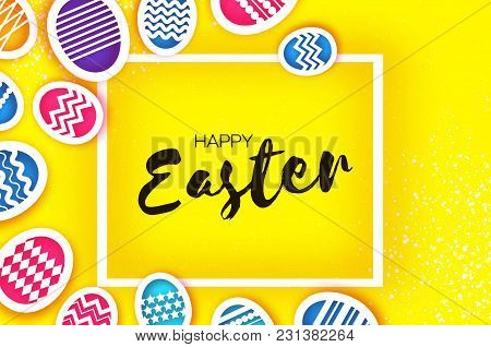Happy Easter Greetings Card. Colorful Eggs In Paper Cut Style. Spring Holidays On Yellow. Space For