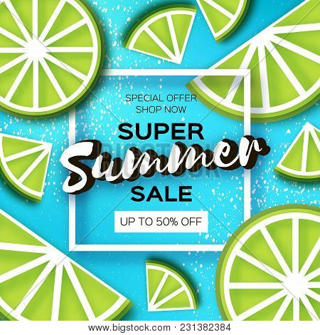 Lime Super Summer Sale Banner In Paper Cut Style. Origami Juicy Ripe Lime Citrus Slices. Healthy Foo
