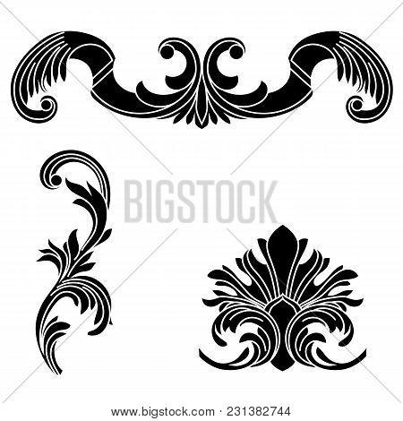 Black vintage ornament, baroque ornament, scroll ornament, engraving ornament, border ornament, floral ornament, retro pattern, antique pattern, style acanthus pattern, foliage pattern, swirl pattern decorative pattern, filigree pattern. vector