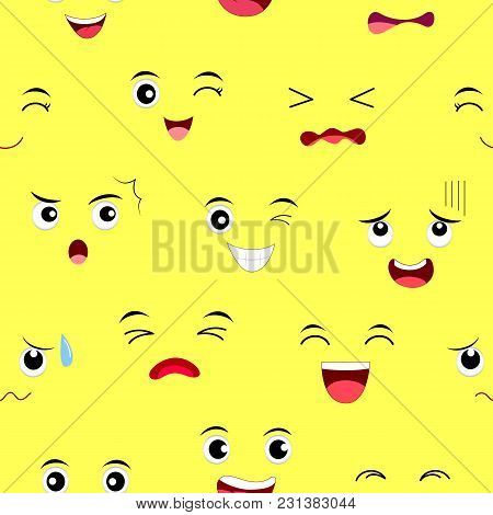 Funny Face Seamless Pattern. Facial Expression Cartoon Characters. Vector Illustration Isolated On Y