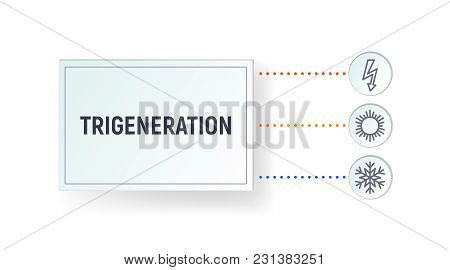 Infographics Trigeneration. Generation Of Heat, Cold And Electricity. Template Vector Illustration.