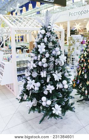 St. Petersburg, Russia - 21 December, New-year Decorated Spruce, 21 December 2017. Festive Design Of