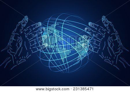 Abstract Technology Background Business Science Hands Hi Tech Blue Digital Future Futuristic World O